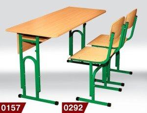 Фото - Стол ученический 0157 + стул Т-образный 0292