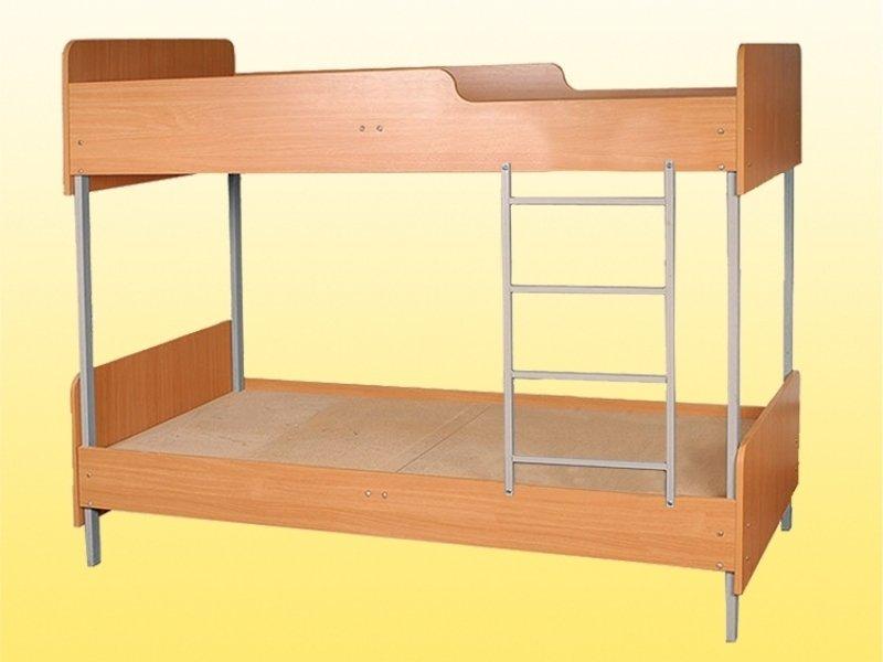 Фото - Кровать 2-ярусная на металлическом каркасе, с закруглениями (0819)