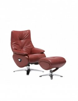 Кресло-реклайнер ALPHA 158, кожаное