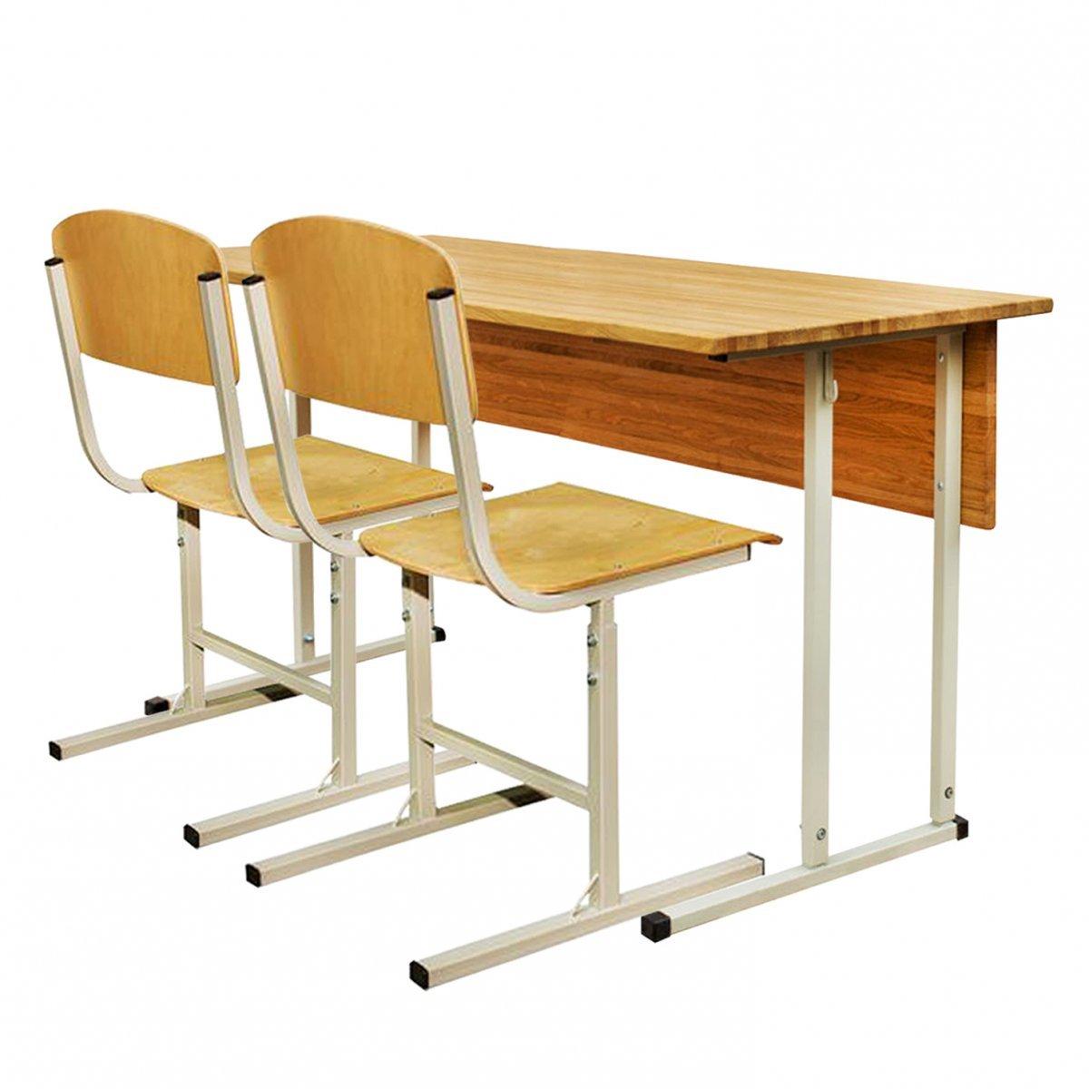 Фото - Комплект парта + 2 стула ученический двухместный «ЭКСКЛЮЗИВ» регулируемый