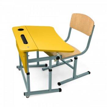 Фото - Комплект парта + стілець одномісний для НУШ з полицею.